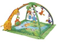 Rainforest fisher Price swing, play mat, cot mobile and changing mat.