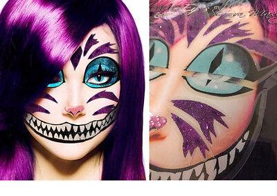 Easy Cheshire Cat Glitter Sticker Eye Makeup Face Mask Wonderland Costume Set - Cheshire Cat Mask