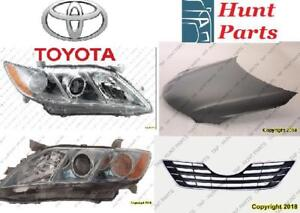 Toyota Camry 2007 2008 2009 2010 2011 Grille Upper Lower Support Headlamp Head Lamp Light Hood Hinge Latch Rebar Front