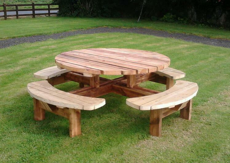 round picnic tables wooden bench pub benches patio furniture heavy duty 4 8 seater in. Black Bedroom Furniture Sets. Home Design Ideas