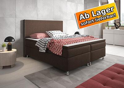 Boxspringbett KING SIZE Bett Hotelbett Designerbett 180x200 cm Webstoff Braun