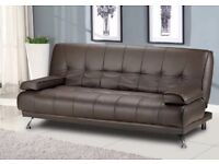 Brand New Brown Faux Leather Sofa Bed
