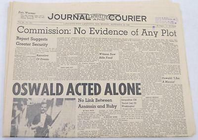 Monday, September 8, 1964 newspaper with Warren Commission findings Lot 322