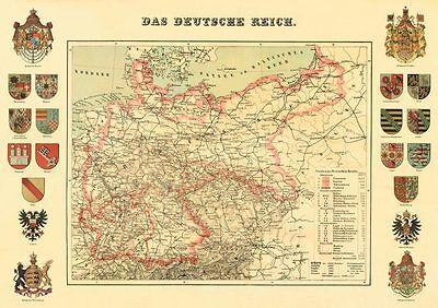 Das deutsche Reich Karte von 1872 & 20 Wappen Faksimile 16 A3 auf Büttenpapier