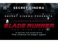Secret Cinema Bladerunner tickets x 2 - London - Sat 28th April