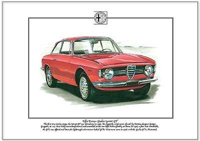 ALFA ROMEO GIULIA SPRINT GT - Fine Art Print A4 size - GTA GTV Italian coupe car