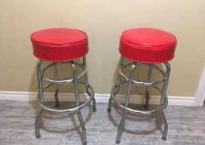 4 x Red Bar Stools