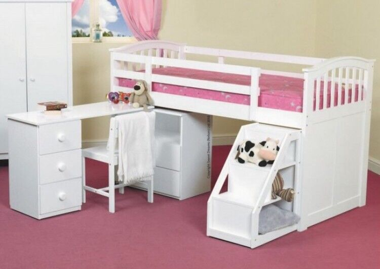 Cabin Bed Single With Desk Book Shelf Storage And Chair