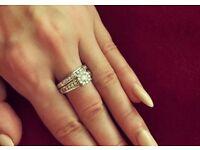 1ct Genuine diamond engagement ring and wedding band 14k white gold