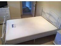"""Double Bed 4'6"""" White Metal Fancy Framed Bedstead And Memory Foam Mattress - Only a year old!"""