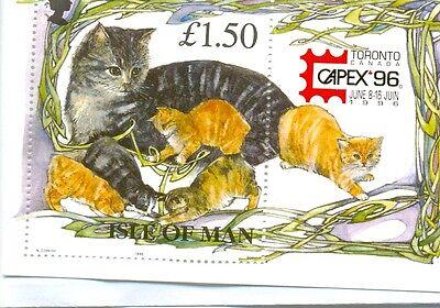 Isle of Man Cats min sheet CAPEX overprint 1996 mnh