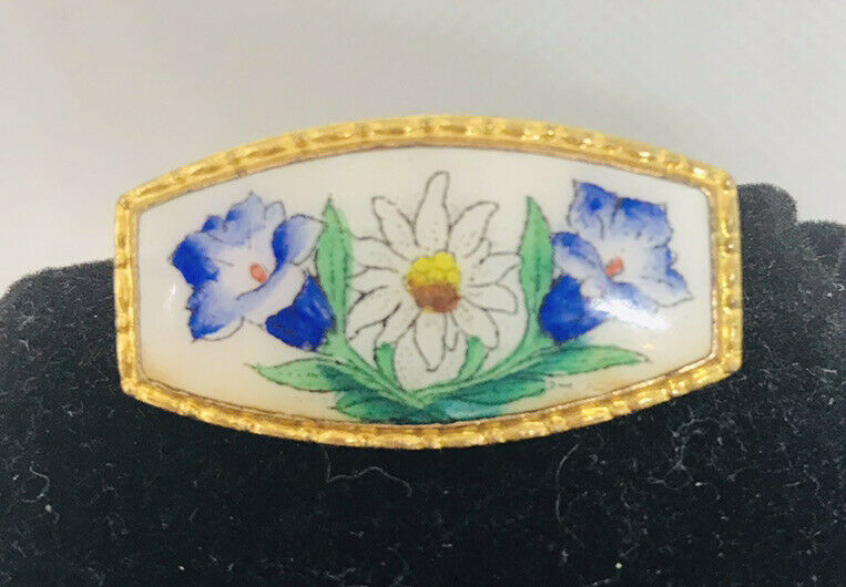 Vintage Hand Painted Flower Floral Bar C Clasp Brooch Pin