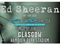 URGENT: ** Ed Sheeran Tickets (x 2 Seated) - Glasgow - Sunday 3 June 2018 **