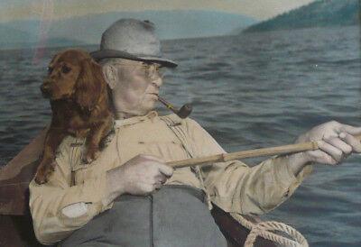 ROSS HALL, IDAHO, RARE SIGNED PHOTOGRAPH HAND COLORED TINTED DOG and FISHERMAN