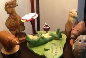 """WOOD CARVINGS Wall Plaques & figures $5-$60    """"Ahhh Retirement"""""""
