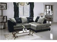 Brand new black&silver crushed velvet corner or 3+2 sofa sets