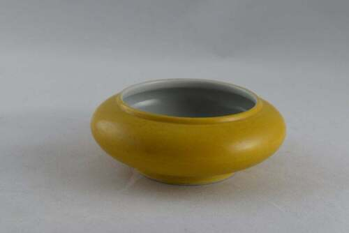 Chinese Collections Yellow Glazed Porcelain Brush Washers with Kangxi Mark