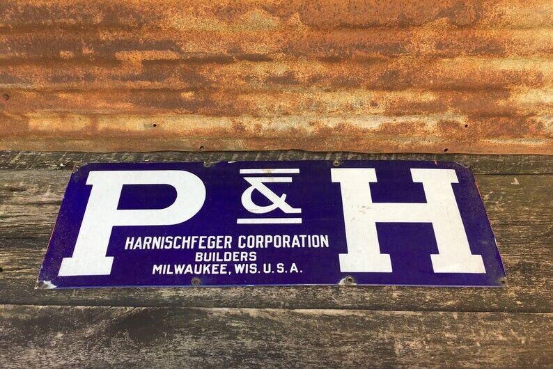 P & H Pawling & Harnischfeger Crane Co porcelain enamel sign vintage 12x36 Inch