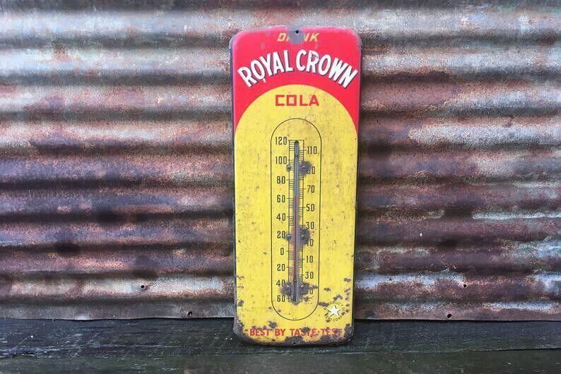 Original Vintage RC Cola Thermometer Sign 25 Inch Metal Royal Crown Soda Pop