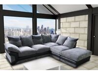 new!! ITALIAN DINO JUMBO CORD LARGE 5 SEATER CORNER SOFA IN LEFT OR RIGHT HAND SIDE/ WITH FOOTSTOOL