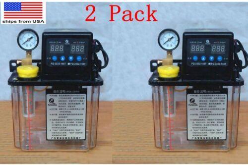 2x 110V 1.5L 6mm Dual Digital Display Automatic Lubrication Pump Oiler NC Pump