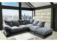 Brand New High Quality Dino Jumbo Cord Corner Or 3+2 Seater Sofa Set - L/R hand Sides- Black & Brown