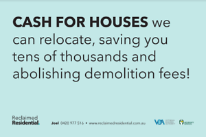 $$ Relocation Removal house / Weatherboard / Save on demolition