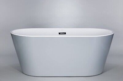 "Kokss 60"" Grey Freestanding Acrylic Bathtub"