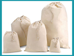 Plain-100-Natural-Cotton-Calico-Drawstring-Xmas-Gift-Sack-Bag