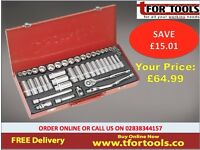 "Sealey Tools AK692 Socket Set 45pc 3/8""sq Drive 6pt Walldrive® - Duometric®"