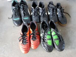 ASSORTED SOCCER CLEATS/SHOES AND SHIN PADS