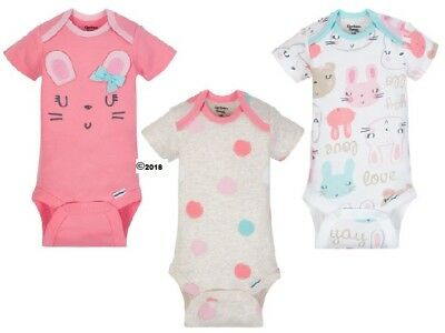 Gerber Baby Girl 3-Piece Organic Cotton Pink Bunnies Onesies Size Preemie - Girls Animal Print Onesie