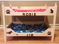 Handmade personalised wooden bunk beds for cats