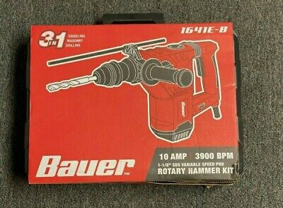 New Bauer 1641e-b Rotary Hammer Drill With Case 1 18 Sds Variable Speed Pro