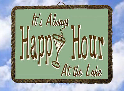 (Lake 5 Happy Hour Lake House boat Gift Lake  Decor Art Prints Bar lalarry framed)