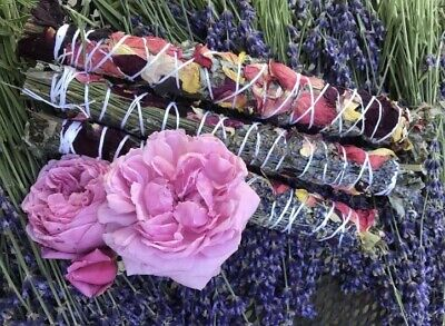 3 Rose Petal, Lavender, and Sage Smudge Sticks Wands Native American - Lavender Sage