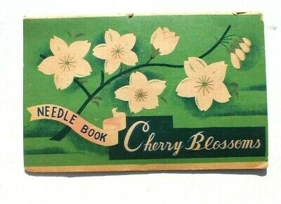 Antique Vtg Needle Book Sample Case Advertising of Cherry Blossoms