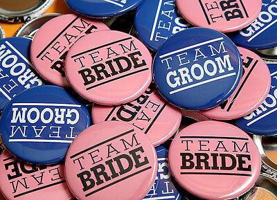 TEAM BRIDE TEAM GROOM Pink Blue Wedding Buttons Pinbacks Badges - 50 - Team Pink Team Blue Buttons