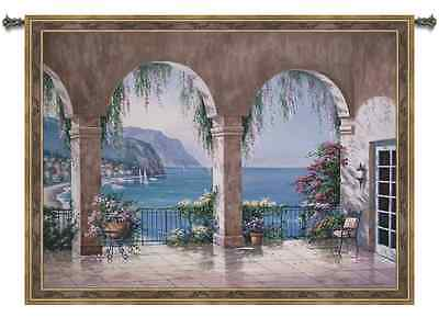 SEASIDE BALCONY OCEAN VIEW ART TAPESTRY WALL HANGING 52x42