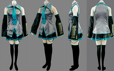 Hot sale! Vocaloid Hatsune Miku Cosplay Costume Full Set Fancy Dress US (Cosplay Sale)