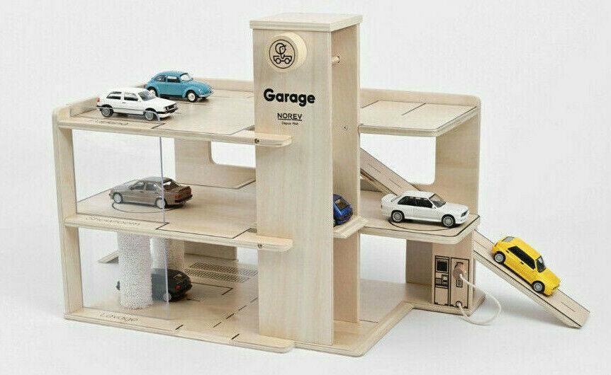 Norev GARAGE EN BOIS 3 étages Pour Voiture Miniature 1/43 Neuf - Jouet et jeux