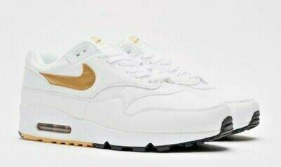 Gold Nike Sneakers - Men's Nike Air Max 90/1 White/Metallic Gold Athletic Sneakers AJ7695 102 $140.00