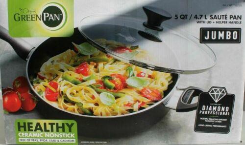 GreenPan 5.1 Quart Ceramic Nonstick Coating Pan with Lid ~ NEW IN BOX