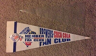 Fan Club Sticker - MILWAUKEE BREWERS Coca-Cola Fan Club MLB Pennant Vtg COKE Flag Button Sticker