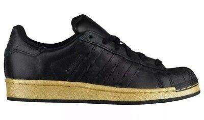 fdcc53f60 Adidas Originals Superstar J Youth Size 7Y Black Metallic Gold BB8134 NEW