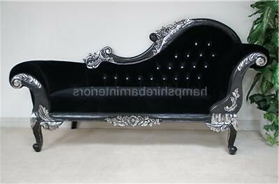 CHAISE RIGHT HAND CHAISE BLACK W LIGHT SILVERED DETAILS VELVET & CRYSTAL BUTTONS