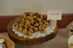 Wooden serving platters and name tag stands