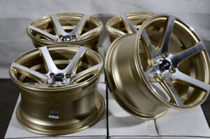 15x8 4x100 Gold Wheels Fits Honda Civic Fit Insight Mini Cooper Jetta 4 Lug Rims