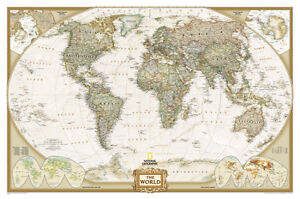 National geographic world map ebay national geographic world executive map laminated poster 46x30 gumiabroncs Gallery