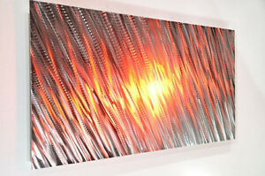 modern METAL art wall decor abstract office home horizontal